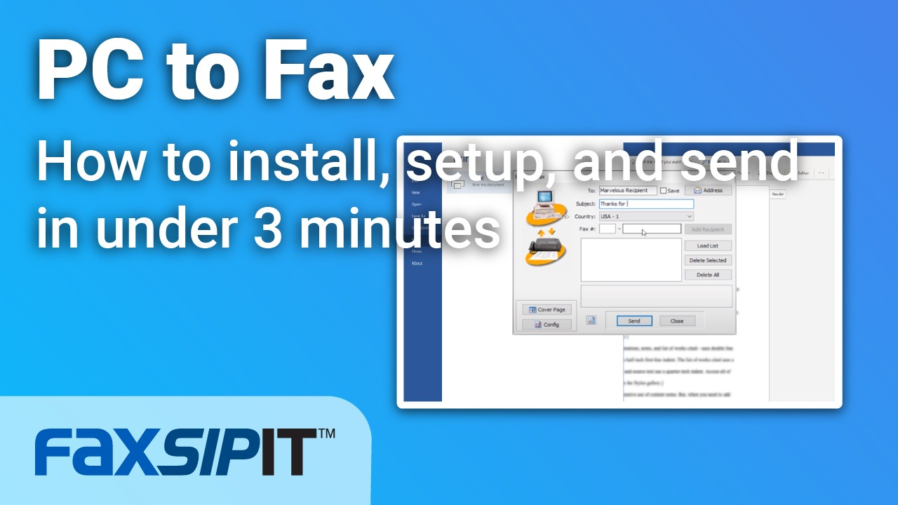 Watch: How to install, setup and send a fax from a PC in under 3 minutes